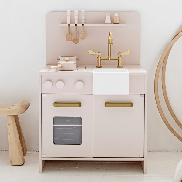 Wooden Toy Kitchen | incl. 7 accessories | Soft Pink