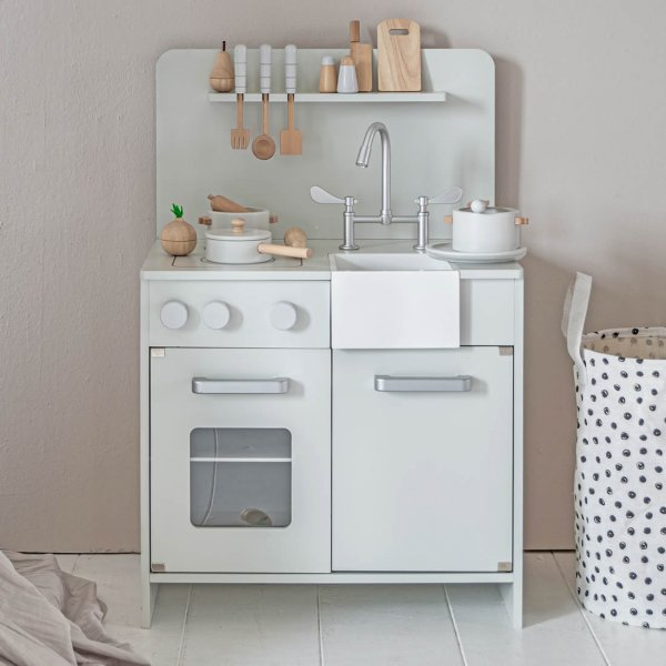 Wooden Toy Kitchen | incl. 7 accessories | Mint Grey