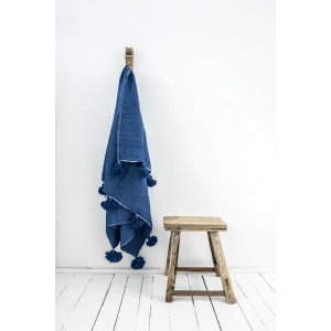 Berber Cotton Children's Blanket Handwoven in Blue from Petite Amélie