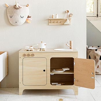 Wooden Toy Kitchen in Natural Wood